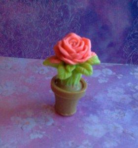 Мыло роза в горшке