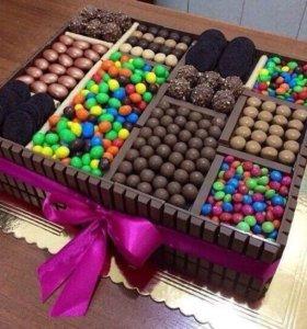 Сладкие торты из конфет , торты из подгузников