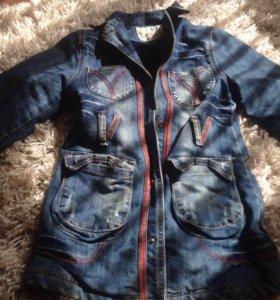 Утеплённое джинсовое пальто(куртка)