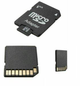 Флешка micro SD 16GB+ адаптер