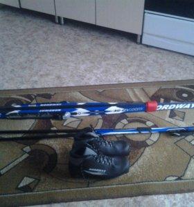 Лыжы , палки, ботинки