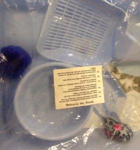 Кошачий горшок, совок, миска и две игрушки - набор