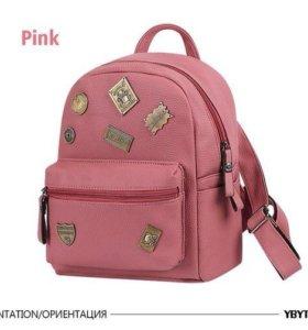 Новый розовый кожаный рюкзак