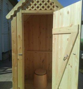 Туалет дачный деревянный с унитазом