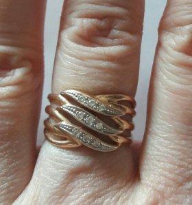 Кольцо золото 585 вставка циркон 16 размер