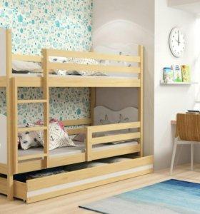 Кровать двухъярусная с матрасами и ящик
