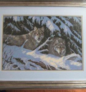 """Картина вышитая крестиком"""" Волки"""""""