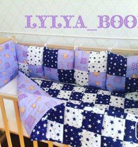 Бортики в кроватку и лоскутное одеяло для детей