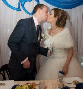 Свадебное платье,шубка,накидка,фата