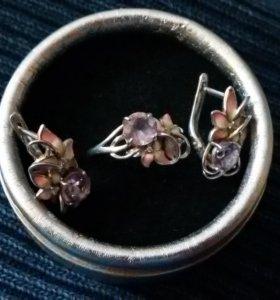 Кольцо серебряное р. 17,5 + серьги с аметистом и