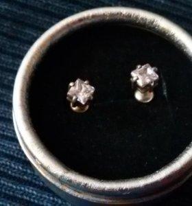 Серьги - гвоздики серебро с аметистом