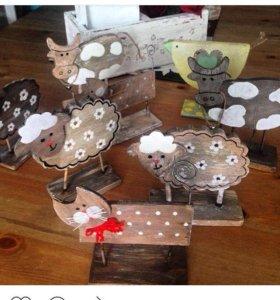 Декоративные деревянные котики, курочки, зайки