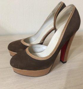 Туфли коричневые, кожа/замша