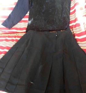 Кофточка со слезкой и юбка в складку