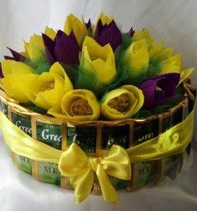 Тортик с тюльпанами