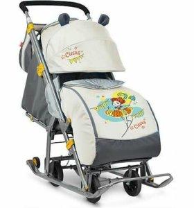 Санки-коляска на колёсиках