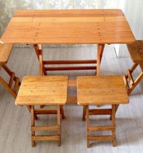 🚩Складные деревянные стол и табуреты