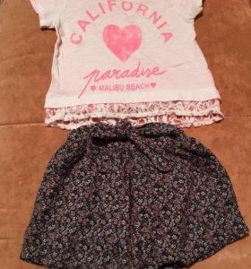 Zara 3-4, комплект юбка шорты и футболка