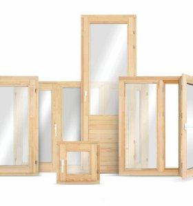 Деревянные окна на веранду и в дом со стеклом