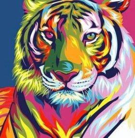 Картина по номерам.Радужный тигр