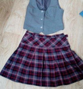 Школьная желетка и юбка Brossko