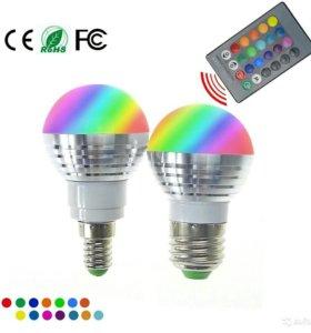 Разноцветная лампочка с пультом
