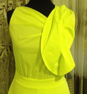 Платье в пол,цв.лимонный,