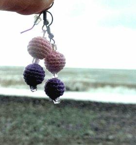Серьги вязаные шарики, сиреневые, фиолетовые