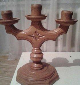 Подсвечник ручной работы, деревянный.