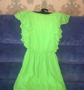 Платье шифон зелёный