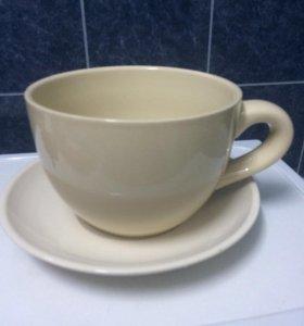 Горшок для цветов новый, керамика, чашка с блюдцем