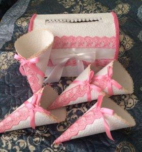 Свадебный сундук и кульки под лепестки роз