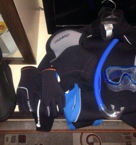 Гидрокостюм ,перчатки,боты,маска,трубка