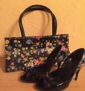 Босоножки и сумка. Натуральный лак