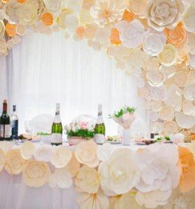 Цветы из бумаги,оформление торжест