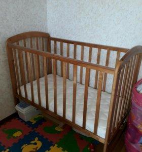 Кроватка детская с матрасом Фея