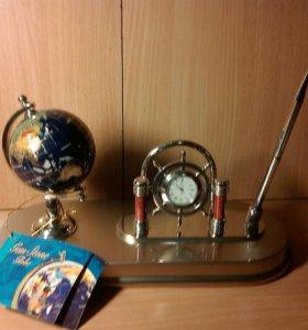 Набор настольный с глобусом и часами-штурвалом