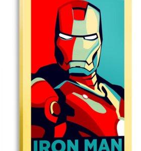 Картина IRON MAN в американском стиле Поп-арт