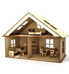 Деревянный домик с мебелью.