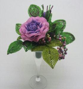 Композиция с розами из бисера (ручная работа)