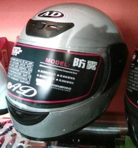 Шлем мотоциклетный серебристый
