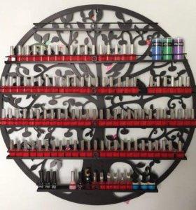 Полка гель-лак круглая черная nail polish display