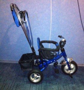 Детский трёх колёсный велосипед с ручкой