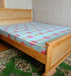 Новая двуспальная кровать из массива сосны +матрас