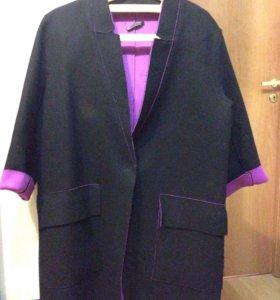 Пиджак-пальто неопрен/шерсть