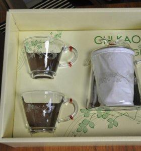 Подарочный набор стеклянный чайник и 2 чашки