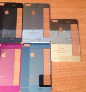 Цветные защитные стекла на iPhone 5/5s, 6/6s.