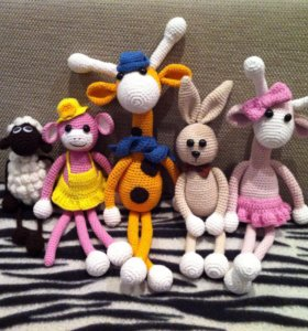 Вязаные игрушки, одежда для кукол