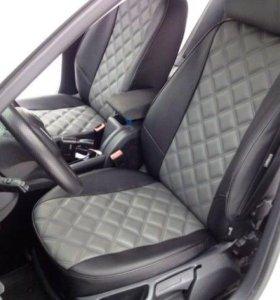 чехлы на Skoda Octavia A5 Elegance экокожа 3D ромб