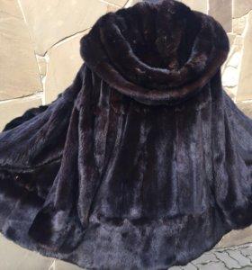 Норковая шуба с капюшоном разлетайка